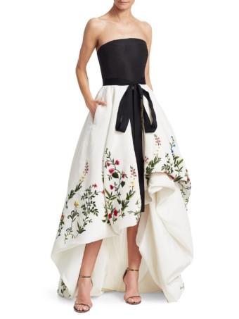 OSCAR DE LA RENTA Botanical Garden Embroidered Strapless Black / White Gown