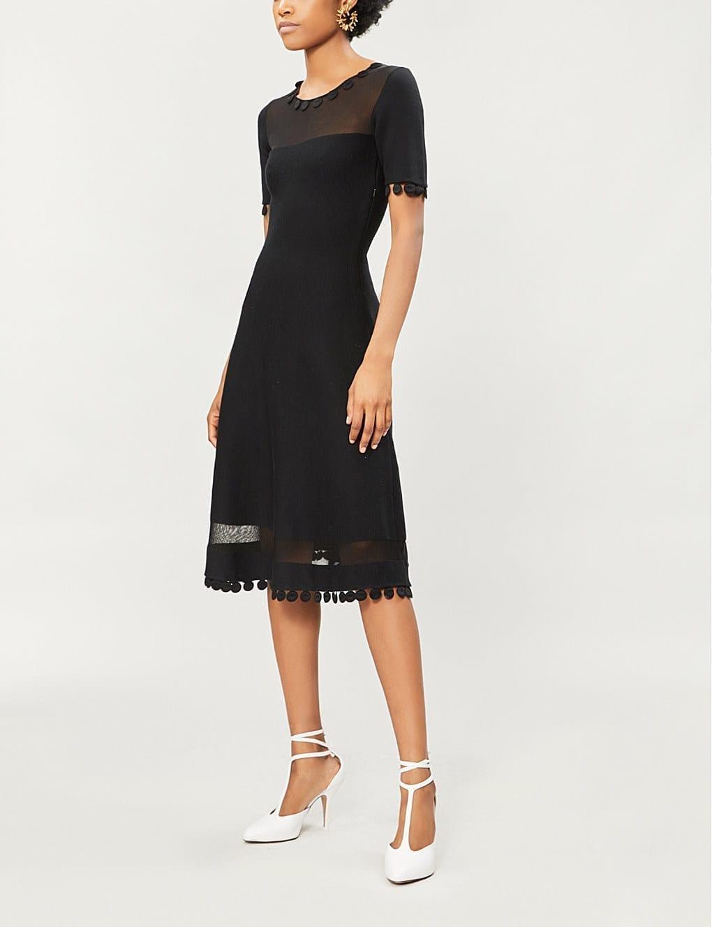 OSCAR DE LA RENTA Sheer-Panel Wool-Blend Black Dress