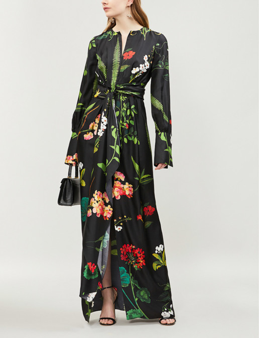 OSCAR DE LA RENTA Tropical-Print Wrap-Over Silk-twill Maxi Black Multi Dress