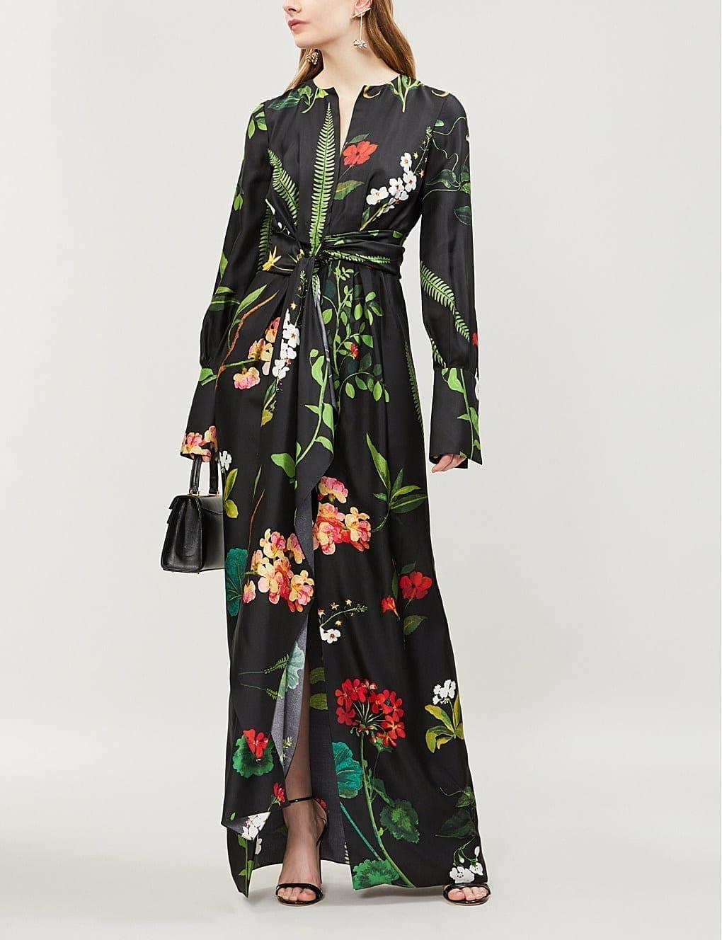 5f71ff95ba OSCAR DE LA RENTA Tropical-Print Wrap-Over Silk-twill Maxi Black Multi Dress