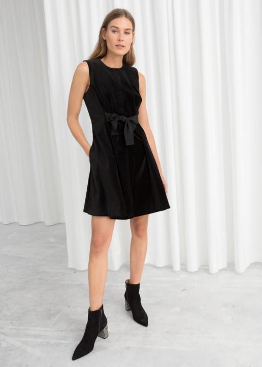 & OTHER STORIES A-line Cotton Black Dress
