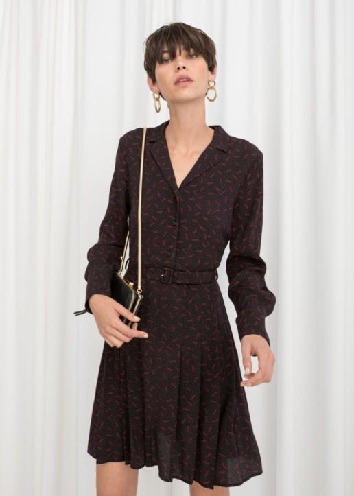 & OTHER STORIES Belted Paris Print Flare Black Dress