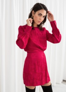 & OTHER STORIES Gathered Satin Mini Red Dress