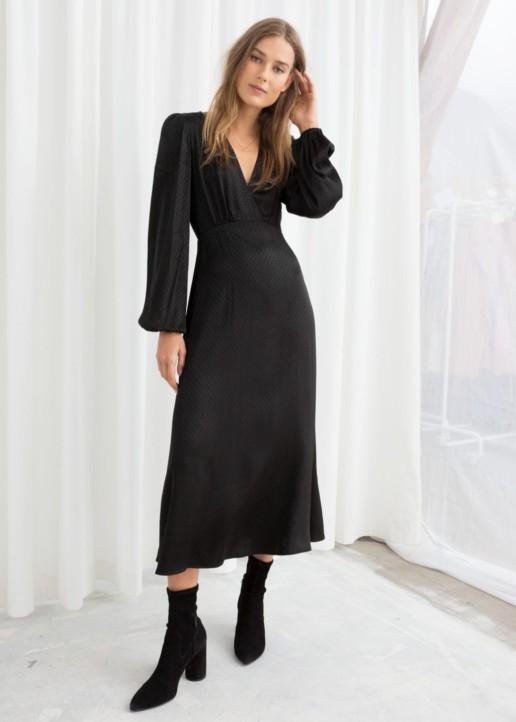 & OTHER STORIES Jacquard Empire Midi Black Dress