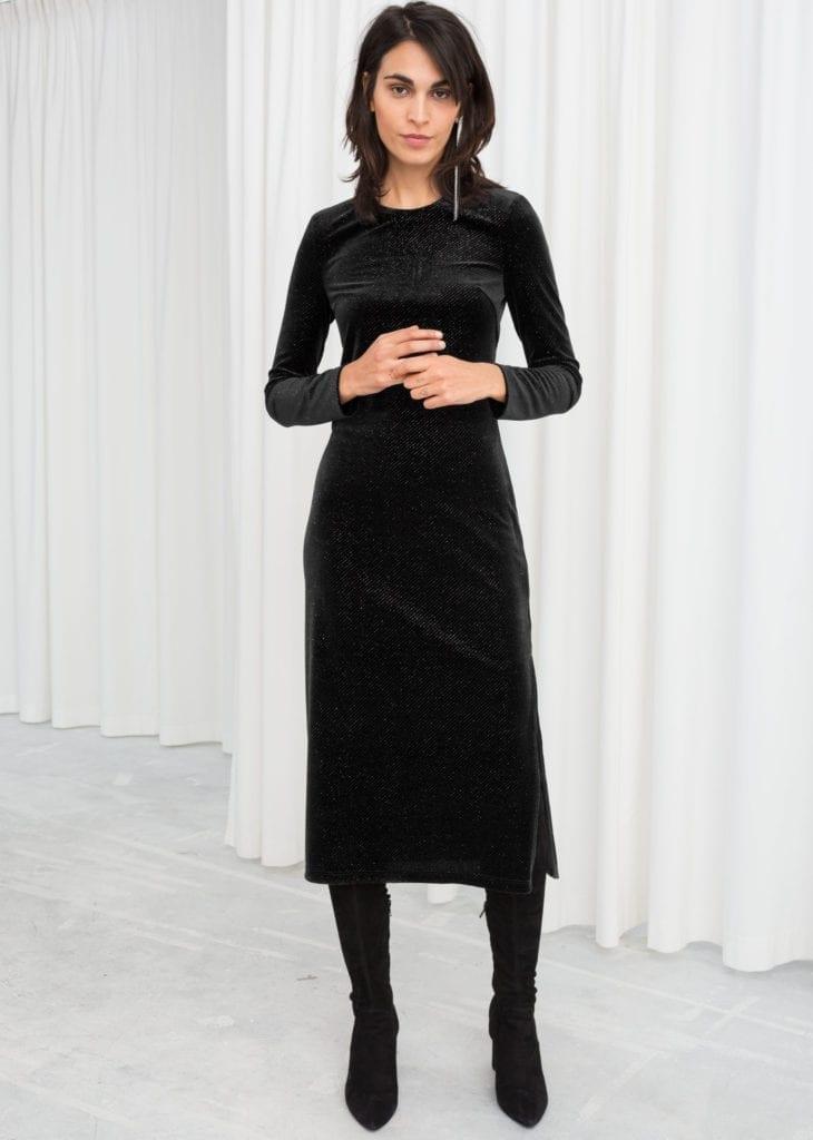 Other Stories Long Sleeve Velvet Midi Black Dress We Select Dresses