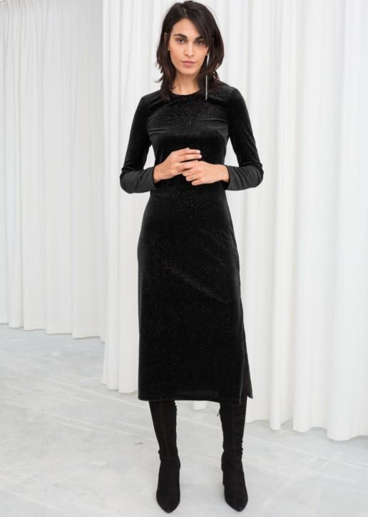 & OTHER STORIES Long Sleeve Velvet Midi Black Dress