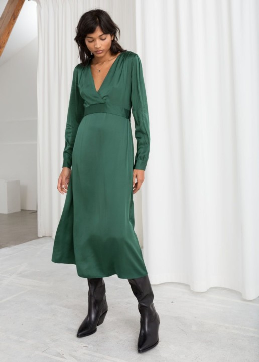 & OTHER STORIES Plunging Ruched Midi Green Dress
