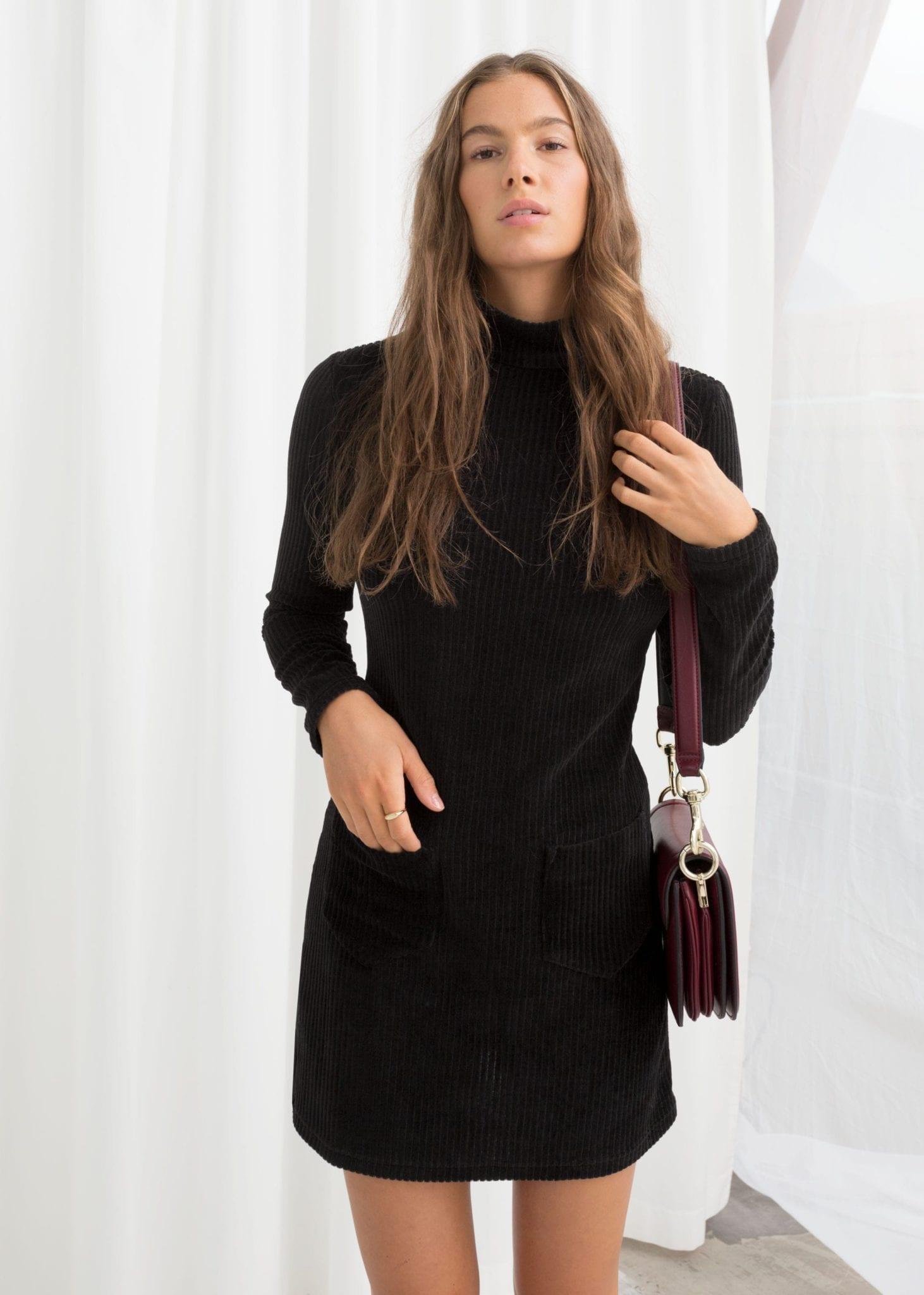 92c06c13e5   OTHER STORIES Turtleneck Velour Mini Black Dress - We Select Dresses