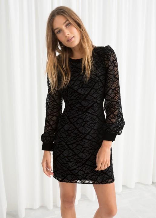 STORIES Velvet Mesh Mini Black Dress