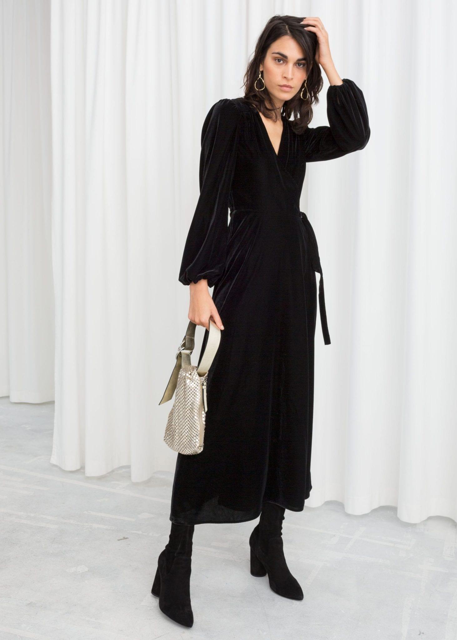 24a308128e89 & OTHER STORIES Velvet Midi Wrap Black Dress - We Select Dresses