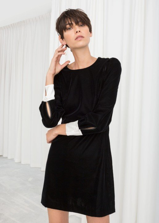 & OTHER STORIES Velvet Pearl Button Mini Black Dress