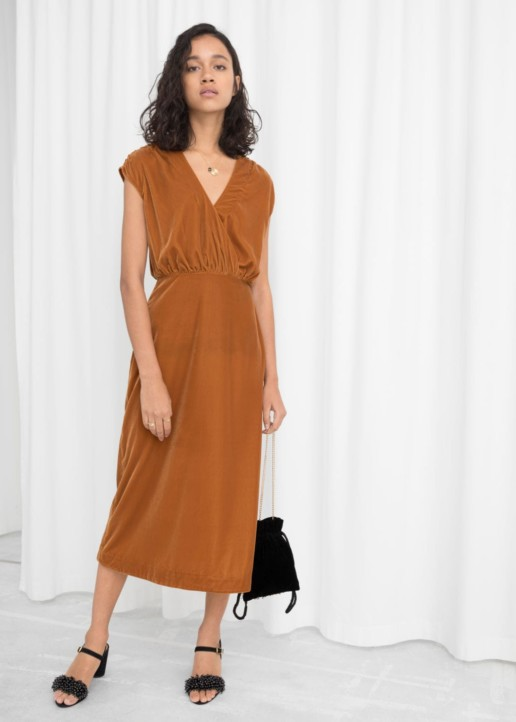 & OTHER STORIES Sleeveless Velvet Midi Brown Dress
