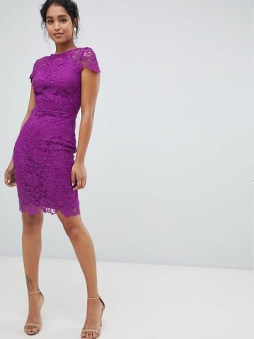 PAPER-DOLLS-Cap-Sleeve-Lace-Pencil-Purple-Dress