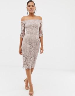 PAPER DOLLS Crochet Lace Bardot Midi Pencil Mink Dress