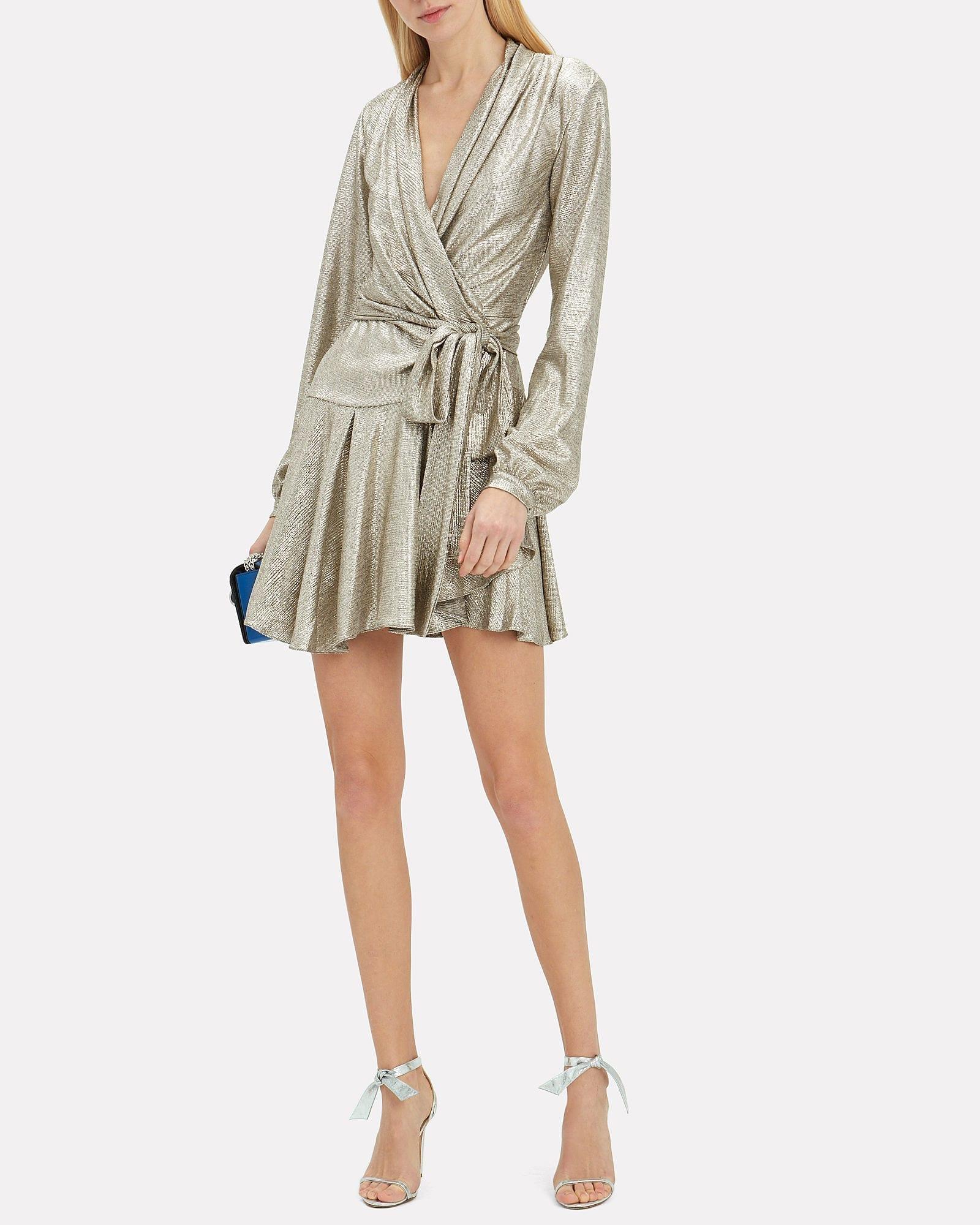 PATBO Lamé Wrap Mini Gold Dress