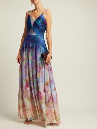 PETER PILOTTO Floral-Print Silk-Blend Blue Gown