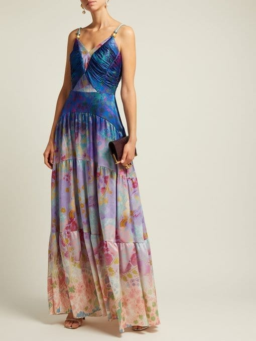PETER PILOTTO Floral-Print Silk-Blend Blue Gown