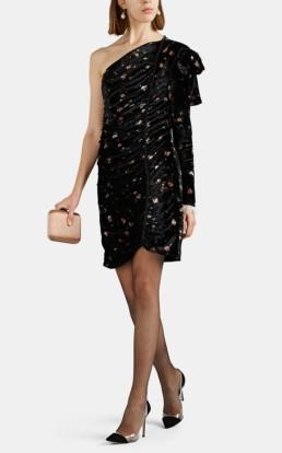 PHILOSOPHY DI LORENZO SERAFINI Ruched Floral Velvet One Shoulder Mini Black Dress