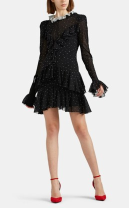 PHILOSOPHY DI LORENZO SERAFINI Studded Chiffon Mini Black Dress