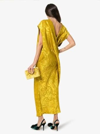 POIRET-Jacquard-Backless-Silk-Yellow-Dress-4