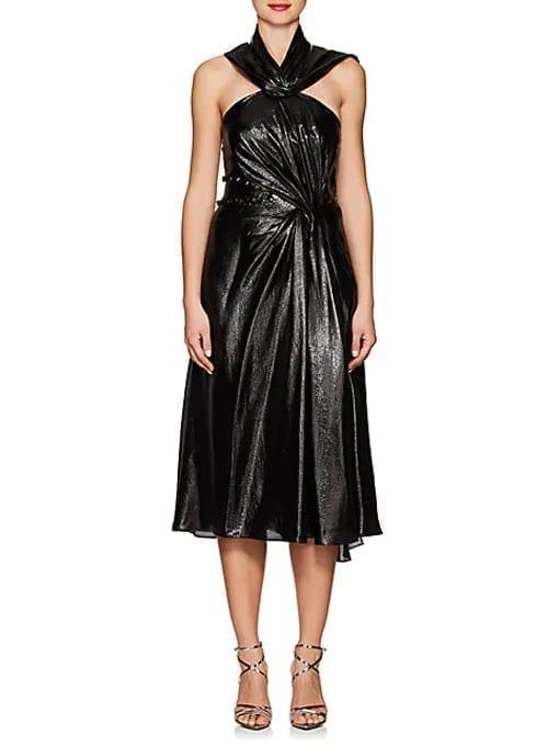 PRABAL-GURUNG-Silk-Blend-Lamé-Cocktail-Black-Dress