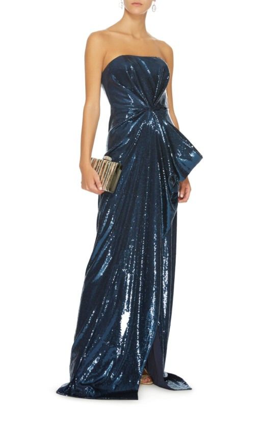 PRABAL GURUNG Strapless Draped Sequined Navy Gown