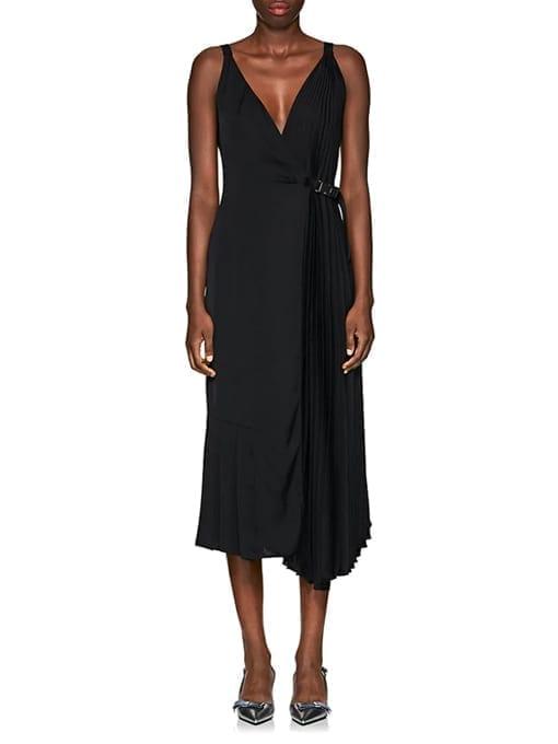 PRADA-Crepe-Belted-Wrap-Front-Black-Dress