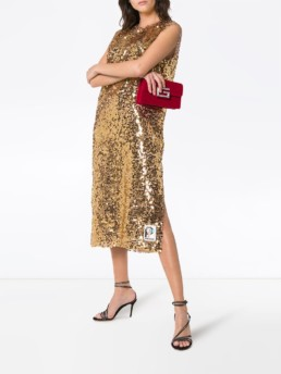 PRADA Sleeveless Sequin Embellished Midi Gold Dress