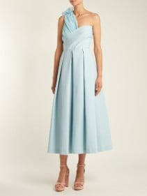 PREEN BY THORNTON BREGAZZI Ted Asymmetric Bodice Cady Midi Aqua Blue Dress
