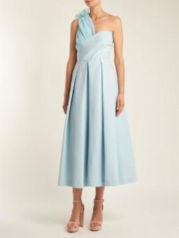 PREEN BY THORNTON BREGAZZI Ted Asymmetric Bodice Cady Midi Aqua Blue Dress