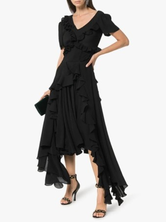 PREEN-BY-THORNTON-BREGAZZI-Wendie-Ruffle-Detail-Black-Dress