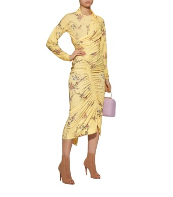 PREEN Louise Ruched Yellow / Floral Printed Dress