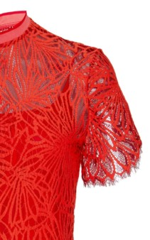 PROENZA SCHOULER Mock-Neck Lace Midi Orange Dress 3