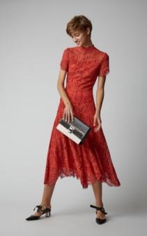 PROENZA SCHOULER Mock-Neck Lace Midi Orange Dress
