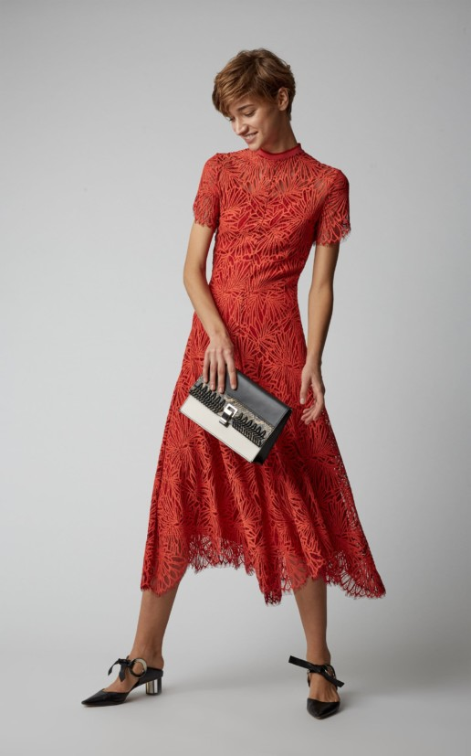 PROENZA SCHOULER Mock-Neck Lace Midi Orange Dress