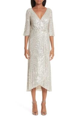 RACHEL GILBERT Lovelle Embellished Midi Wrap Silver Dress