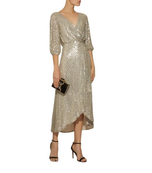 RACHEL GILBERT Lovelle Sequin Midi Silver Dress