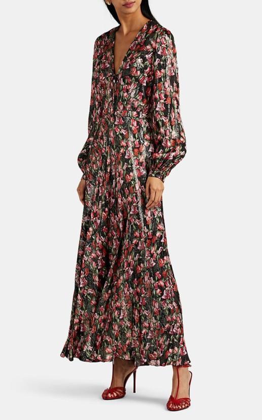 RAQUEL DINIZ Geena Metallic Silk Maxi Black / Floral Printed Dress