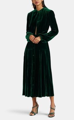RAQUEL DINIZ Terry Silk Velvet Keyhole Neck Maxi Green Dress