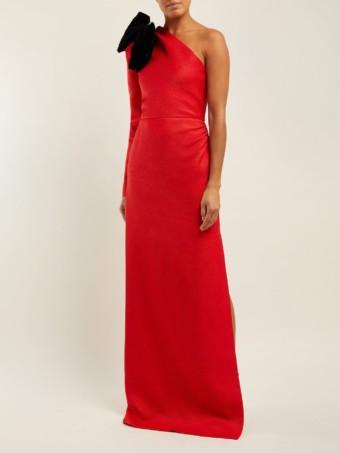 REBECCA DE RAVENEL Asymmetric Bow Silk-Blend Jacquard Red GownREBECCA DE RAVENEL Asymmetric Bow Silk-Blend Jacquard Red Gown