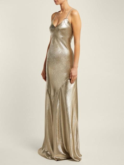 REBECCA DE RAVENEL Lamé Braidedstrap Floor Length Gold Gown