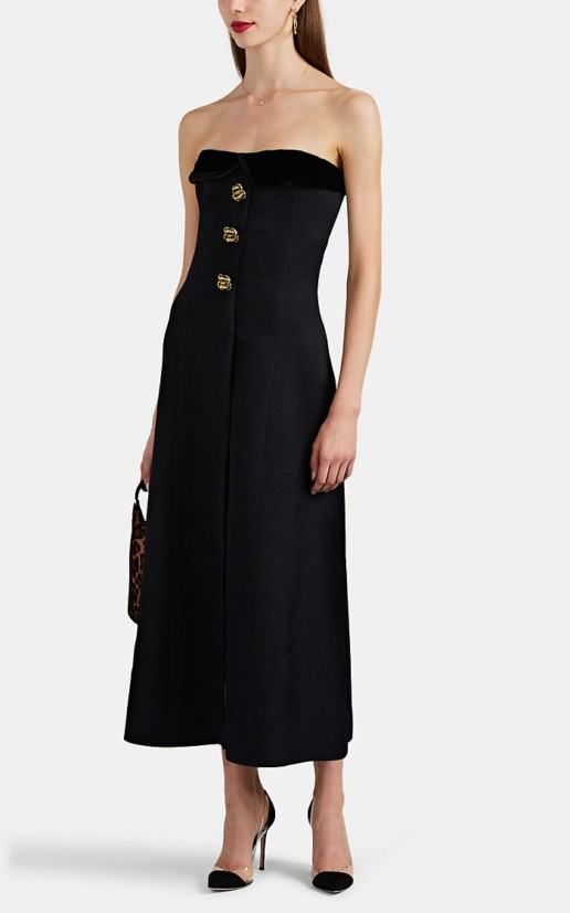 REBECCA DE RAVENEL Velvet Trimmed Silk Wool Strapless Black Gown