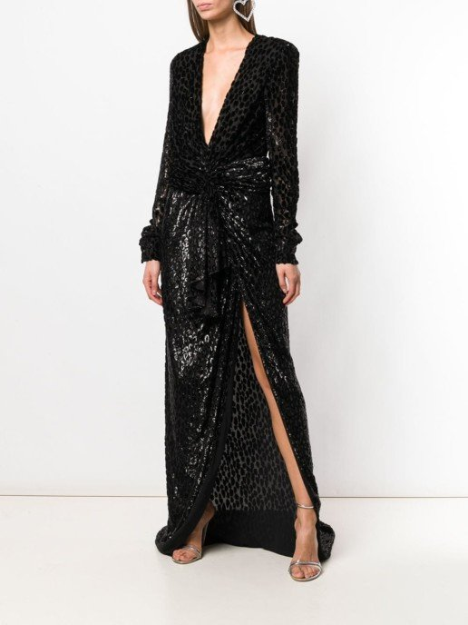 REDEMPTION Long Tie Waist Black Dress