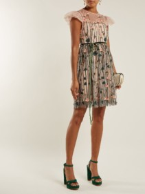 REDVALENTINO Floral Embroidered Tulle Mini Light Pink Dress