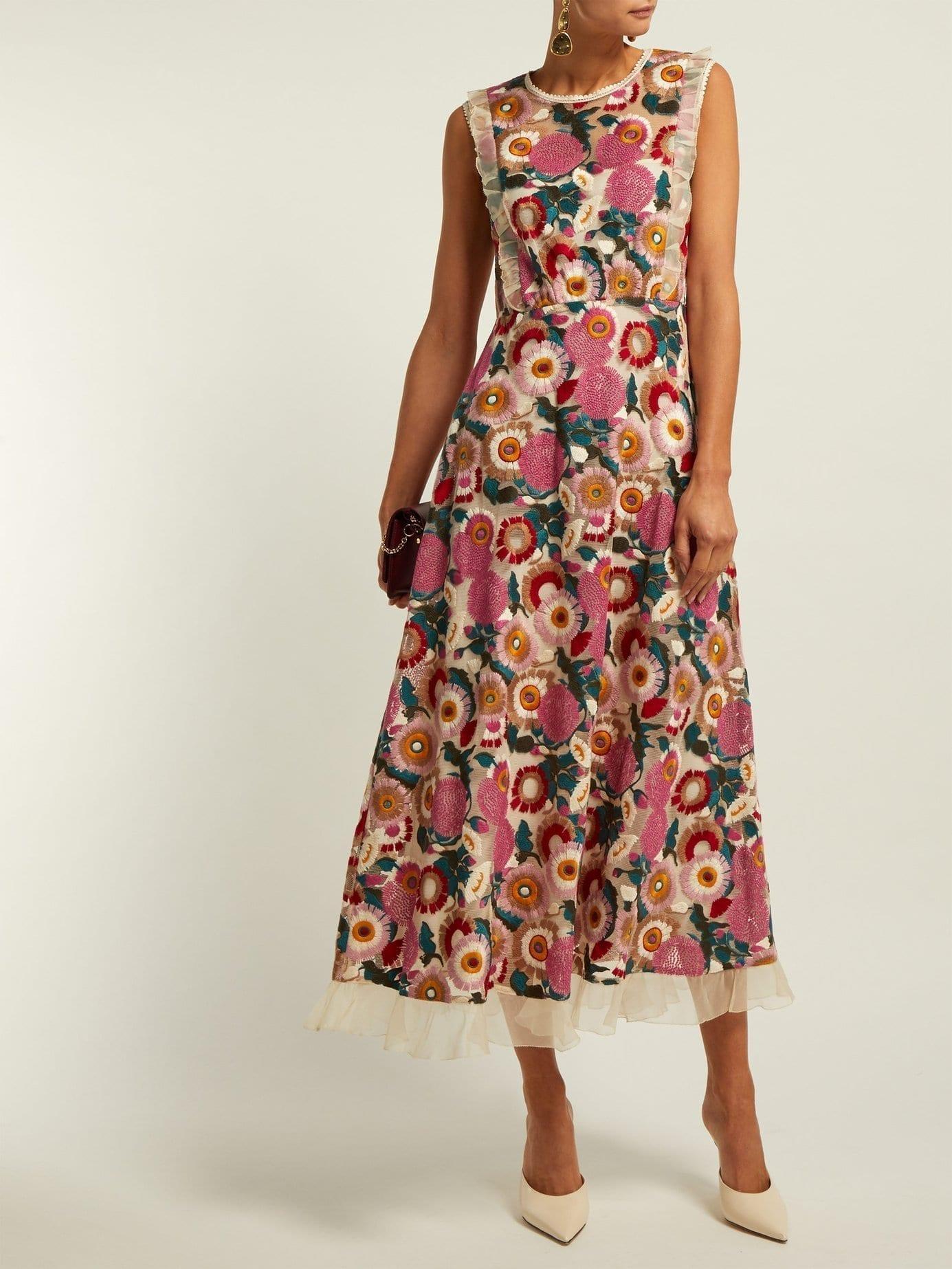 Redvalentino Floral Lace Midi Sleeveless Pink Dress