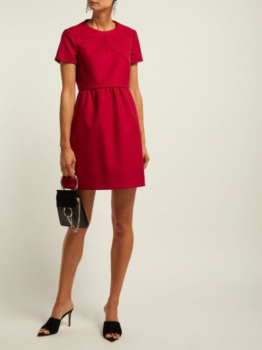 REDVALENTINO Seam Detail Twill Mini Red Dress
