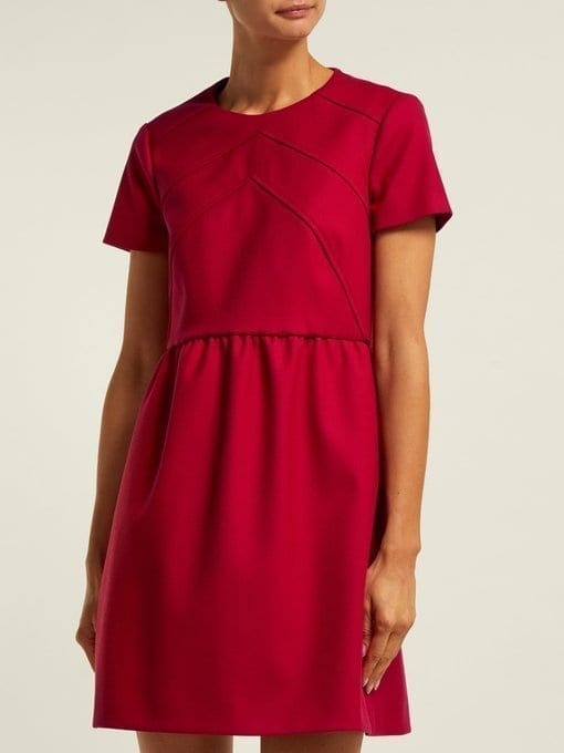 REDVALENTINO Seam-detail Twill Mini Red Dress 2