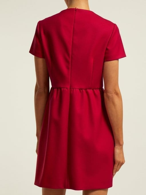 REDVALENTINO Seam-detail Twill Mini Red Dress 3