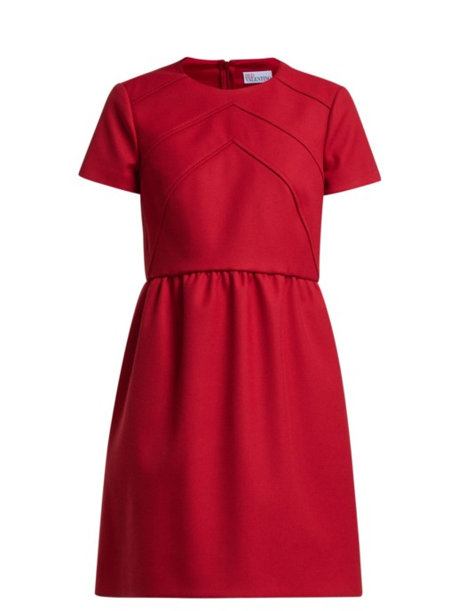 REDVALENTINO Seam-detail Twill Mini Red Dress 4