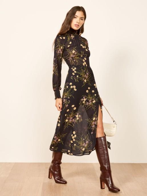REFORMATION Georgina Black / Floral Printed Dress
